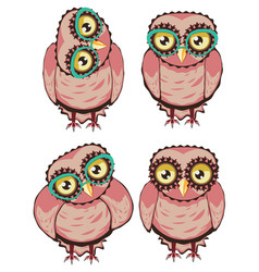 Curious owl in teal glasses vector