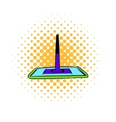 Floor cleaning mop icon comics style vector