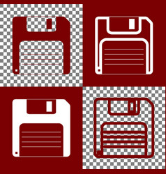 Floppy disk sign bordo and white icons vector
