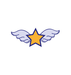 Full color star with wings rock symbol art vector