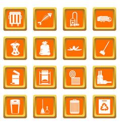 Garbage thing icons set orange vector