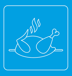 grilled chicken on a grill icon outline vector image