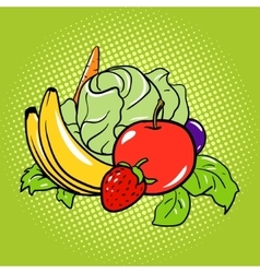 Healthy food vegetarian comic book style vector image