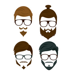 hipster beard hair and accesories vector image vector image