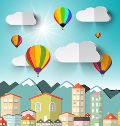 Hot Air Balloons on Sky with City and Mountains vector image
