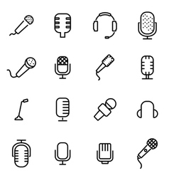 line microphone icon set vector image vector image