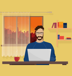 Man freelancer designer hipster is working coding vector