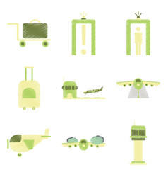 Set of flat icons in shading style airport vector