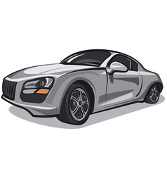 silver sport car vector image