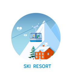 ski resort in mountains winter time snow and fun vector image