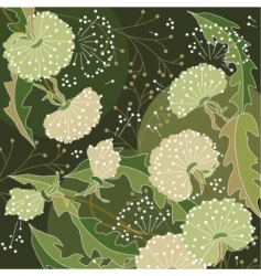 stylish floral green background vector image