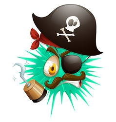 Thorny ball in pirate costume vector