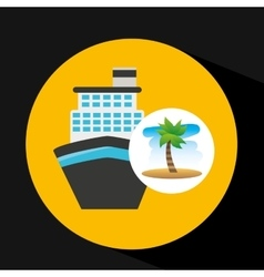 Tropical vacation beach boat cruise travel vector