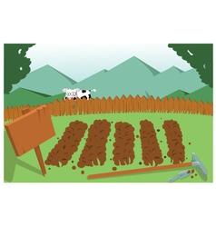 Vegetable garden and cow vector