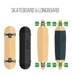 Flat skateboard and vector