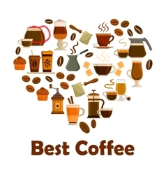 Heart with coffee and dessert icons vector