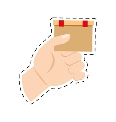 Hand holding cardboard box delivery commerce cut vector