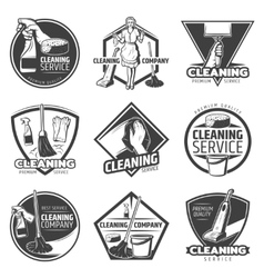 Monochrome cleaning service labels vector