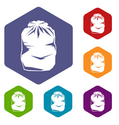 black trash bag icons set vector image