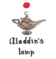 Aladdins magic lamp with genie vector