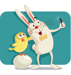Happy easter bunny and chick taking a selfie toget vector