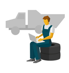 Car mechanic sitting on a tires work with laptop vector