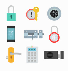 Lock icons set in a flat style vector