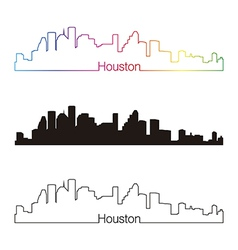 Houston skyline linear style with rainbow vector