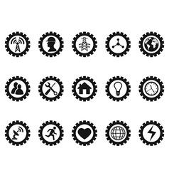 black gear concept icons set vector image