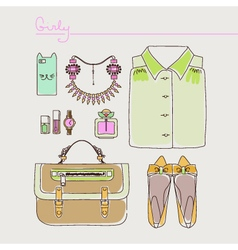 Collection of woman clothes shoes and accessories vector image