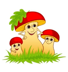 Family of mushrooms vector