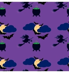 Witch and moon seamless pattern vector