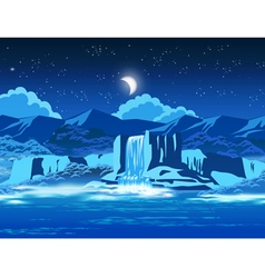 Picturesque waterfall at night vector