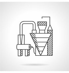 Waste recycling factory line icon vector