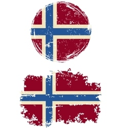Norwegian round and square grunge flags vector