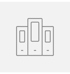 Row of folders line icon vector