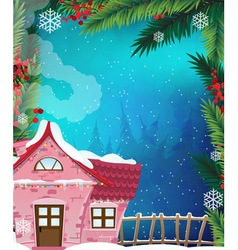 Brick house in winter forest vector