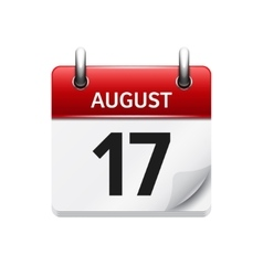 August 17 flat daily calendar icon date vector