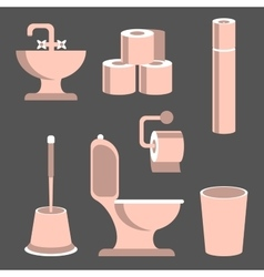 Toilet elements set vector