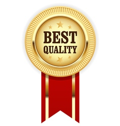 Golden medal best quality with red ribbon vector