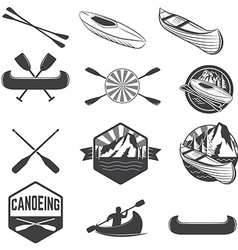 Set of canoeing labels and design elements vector