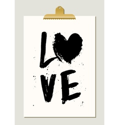 Black Paint Love Poster vector image