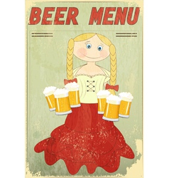 Blond girl with beer vector