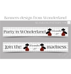 Banners party in wonderland - drink me bottle vector