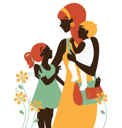 Beautiful mother silhouette with her children vector image vector image