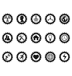 black gear concept icons set vector image vector image