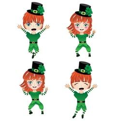 Children dressed in elf costume2 vector