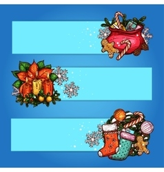 Christmas banner with sketched gift holly wreath vector