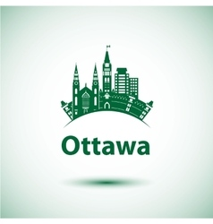 city skyline with landmarks Ottawa Ontario vector image