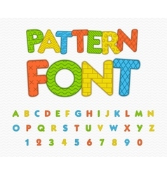 Colorful comic font Funny alphabet with different vector image